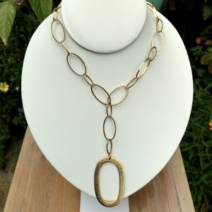 Gold chain link pendant necklace